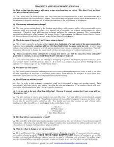 READDRESSING FAQs